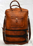 5 Bags Lot Leather Messenger Brown Goat Luggage Travel Weekend Bag Briefcase
