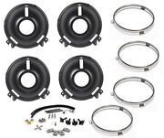 New 1969 Ford Mustang Front Headlight Buckets Complete Rebuild Kit W/ Rings Hw