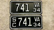 Rare Matching 1934 Virginia Motorcycle And Side Car License Plate, Mc And Sc Set