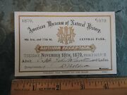 Orig 1879 Museum Natural History New York City Nyc Central Park Ticket Pass