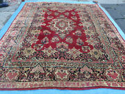 9and039 X 12and039 Antique Fine Hand Made India Floral Oriental Wool Rug Carpet Red Nice