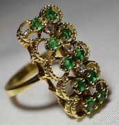 1960and039s Vintage 14k Gold Emerald And Diamond Stoplight Ring North South Free Ship