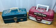 Vintage Union Steel Utility Chest 5413 Tackle Box And Plano Plastic Tackle Box