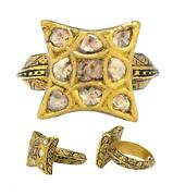 Estate 22k Yellow Gold 0.70ctw Champagne Rose Cut Diamond Hand-painted Ring