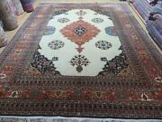 9and039 X 12and039 Vintage Fine Hand Made India Floral Wool Rug Open Field Ivory Wow