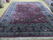 8and039 X 10and039 Antique Hand Made Larastan Indian Wool Rug Carpet Wine Red Nice