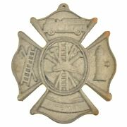 Cast Iron Firefighting Wall Plaque Sign 7.75 Wide Fireman Fire Rescue Grey