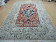 6and039 X 9and039 Vintage Hand Made India Oriental Floral Wool Rug Hunting Bird Deer Nice