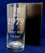 Personalised Hiball Glass Established 1980 40th Sisters Birthday Gift Present