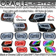 Oracle Halo Sport-quad Headlights And Horizontal Fog Lights For 09-18 Dodge Ram