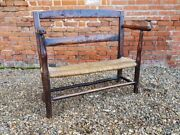 Late 18th Century Childand039s Antique Fruitwood Seat Settle Bench Couch