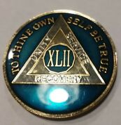 42 Year Aa Sobriety Chip Challenge Coin 1 3/4 Inch Blue Enamel Xlii Recovery
