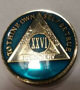 26 Year Aa Sobriety Chip Recovery Challenge Coin Blue Enamel 1 3/4 Inch Xxvi