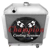 4 Row Ace Champion Radiator W/ 16 Fan For 1949 - 1953 Ford Cars Chevy Engine
