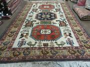 7and039 X 10and039 Vintage Hand Made Knotted Turkish Wool Rug Birds Animal Ivory Organic