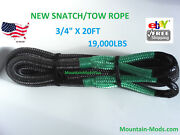 Snatch Tow Rope 20' X 3/4 Authentic Kinetic Recovery Strap 19,000lbs Green Eye