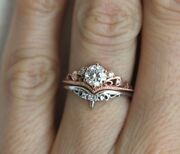 Certified 0.75ct Round Cut Moissanite 10k Two Tone Gold Engagement Vintage Ring