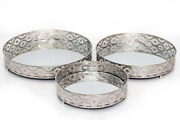 Set Of 3 Silver Mirrored Table Candle Plates Round Centerpiece Dish Display Tray
