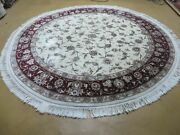 7' X 7' Hand Made Fine Chinese Floral Oriental Wool Rug Carpet Round Silk Beauty