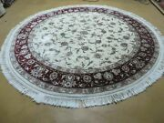 7and039 X 7and039 Hand Made Fine Chinese Floral Oriental Wool Rug Carpet Round Silk Beauty