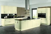 Vivo Gloss Ivory Slab Kitchen Cabinets Units Cupboards Complete With Doors