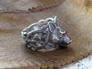 Wolf Solid 10k Real White Gold Animal Band For Rocking Men Ring