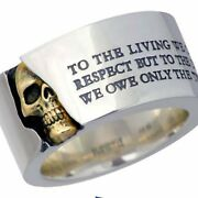Solid 10k Pure Two Tone Gold Scull Slogan Men's Ring