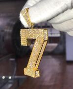 1.8ct Diamond Lucky Charm 7 Number Pendant In 10k Solid Yellow Gold
