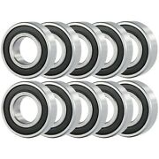 10 Pcs Premium 6201-8 6201-1/2 2rs Rubber Sealed Deep Groove Ball Bearing 12.7x