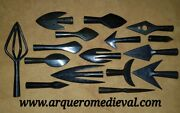 1 X Complete Collection With 16 Real Medieval Arrowheads For Archery