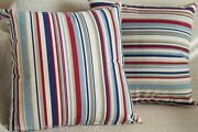 Nautical Blue And Red Marine Stripe Double Sided Square Cushion. Deckchair Style.