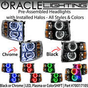 Oracle Pre-assembled Round Halo Headlights For 07-13 Chevy Silverado All Colors