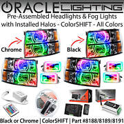 Oracle Square Halo Headlights And Fog Lights For 07-13 Chevrolet Silverado Colors