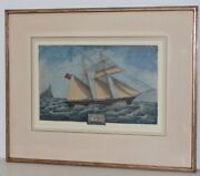 19th Century Chinese Export Clipper Ship W/ Union Jack Original Watercolor