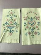 2 Vintage Cotton And Linen Kitchen Dish Towels W Hand Embroidery Flowers Birds