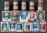 16 Vintage Budweiser Holiday Stein Collection Christmas Beer Mugs Most In Boxes