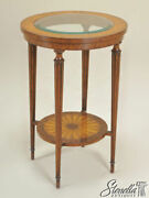 L46564 Maitland Smith Inlaid Mahogany Glass Top Occasional Table 8131-30 New
