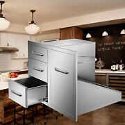 29.5w X 21.6h Outdoor Kitchen Bbq Island Door Drawer Combo Access Drawers