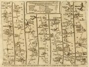 Wetherby Ripon Richmond Pontefract Wakefield. Kitchin Road Map 1767 Old