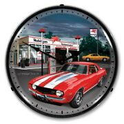Retro Style 1969 Camaro Mobil Game Room Man Cave Backlit Led Lighted Wall Clock