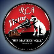 Retro Nostalgic Rca Victor Turntable Man Cave Game Room Led Lighted Wall Clock