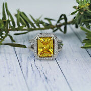White Gold Cocktail Ring W/ Center 7.60ct Cushion Cut Citrine And 1.25ct Tcw Dia