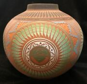 Signed Navajo David Willie Native American Etched Carved Pottery Vase 6.25 X 6