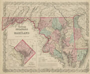 Colton's Delaware And Maryland. District Of Columbia. Us State Map 1863
