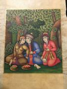 Antique Islamic 18th Century Safavid Miniature Painting With Gold Work