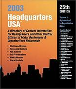 Headquarters U. S. A. 2003 A Directory Of Contact Information For Headquarters
