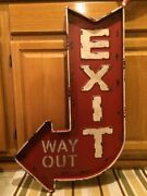 Exit Way Out Large 32 Metal Red Arrow Theater Man Cave Garage Vintage Look