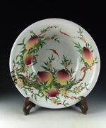 Large China Antiques Famille Rose Porcelain Bowl With Peach