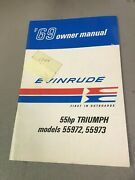 Used Vintage 1969 Evinrude 55hp Triumph Ownerand039s Manual Models 55972/55973