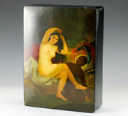 Russian Lacquerware Palekh Box Signed Dated 1917. Nude Servant Beauty
